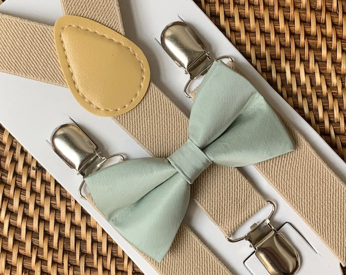 Dusty Sage Green Bow Tie & Suspenders, Beach Wedding, Green Bow Tie, Ring Bearer Outfit, Bow Ties, Boho Bow Ties for Men, Women, Boys