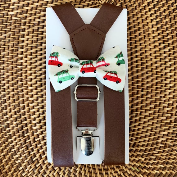 Christmas Bow Tie & Brown Leather Suspenders, Toddler Bow Tie, Christmas Outfit, Boys Bow Tie, Baby Bow Tie, Suspenders, Bow tie