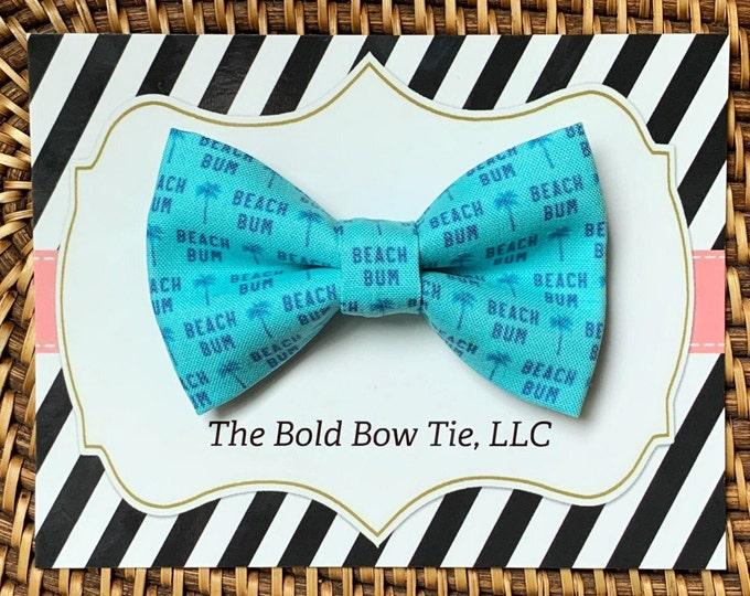 Beach Bum Dog Bow Tie, Blue Bow Tie for Dogs, Cats, Summer Bowtie, Bow Ties, Dog Bow Tie, Dog Accessories, Dog Birthday Gift, Dog Lover Gift