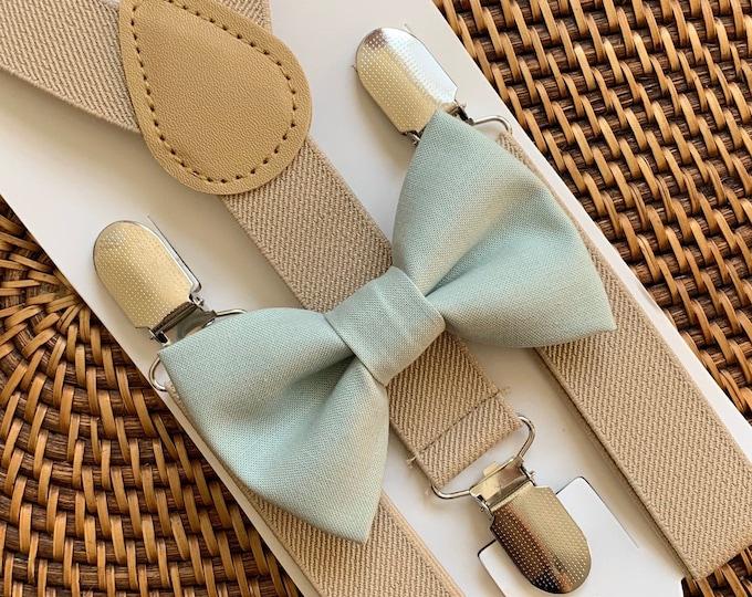 Sage Green Bow Tie & Suspenders, Beach Wedding, Green Bow Tie, Ring Bearer Outfit, Bow Ties, Bow Ties for Men, Boys- Great Gift Idea!