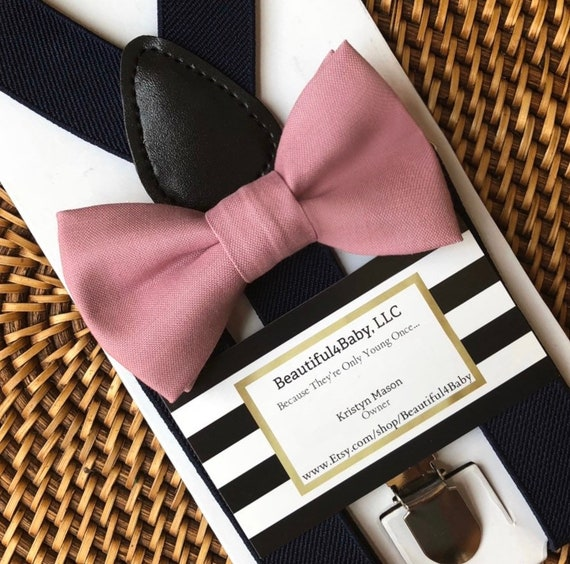 Dusty Rose Bow Tie & Black Suspenders, Mauve Bow Tie, Pink Bow Tie, Baby Suspenders, Ring Bearer Outfit, Toddler Bow Tie, Mens Bow Ties