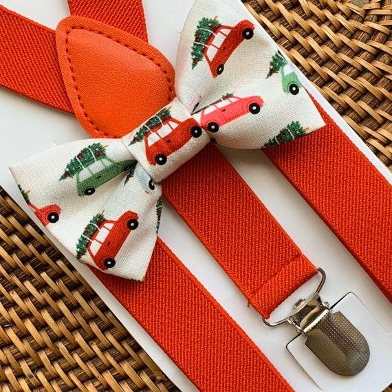 Vintage Christmas Bow Tie & Black Suspenders Red Suspenders Christmas Outfit Boys Bow Tie Bow Tie Suspenders Toddler Suspenders Baby Bow Tie