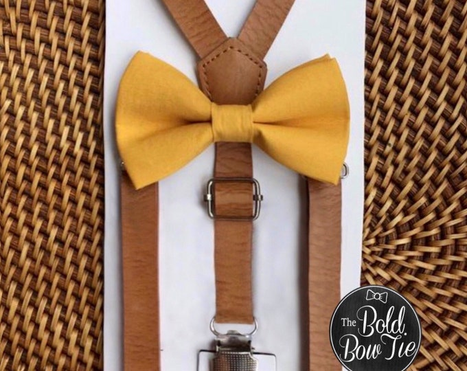 Mustard Bow Tie Leather Suspenders Ring Bearer Outfit Cake Smash Outfit Mustard Yellow Bow Tie 1st Birthday Outfit Boys Bow Tie Suspenders