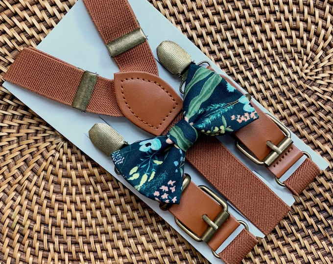 Rifle Paper Co Bow Tie & Brown Buckle Suspenders, Floral Bow Tie, Bow Ties for Men, Boys Bow Tie, Ring Bearer Outfit, Navy Blue Bow Ties
