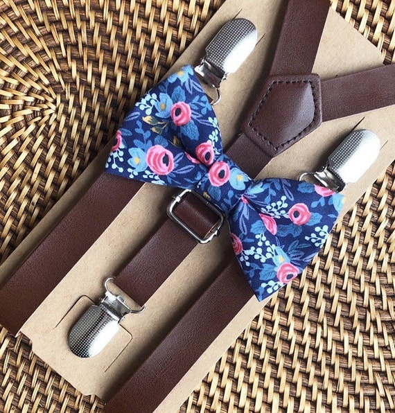 Bow Tie & Suspenders, Dusty Blue Bow Tie, Floral Bow Tie, Leather Suspenders, Wedding Suspenders, Ring Bearer Outfit,  Wedding Suspenders