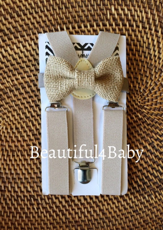 Burlap Bow Tie and Suspenders, Rustic Wedding, Groomsmen Suspenders, Ring Bearer Outfit, Burlap Mens Bow Tie, Burlap Wedding, ALL SIZES