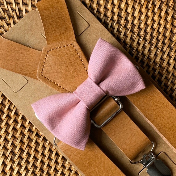 Dusty Rose Bow Tie & Leather Suspenders, Wedding Suspenders, Mauve Bow Tie, Mens Bow Ties, Ring Bearer Outfit, Boys Bow Tie, ALL SIZES