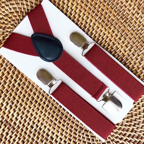 Burgundy Suspenders Wine Suspenders Wedding Suspenders Maroon Suspenders Ring Bearer Outfit Mens Suspenders for Boys Wedding