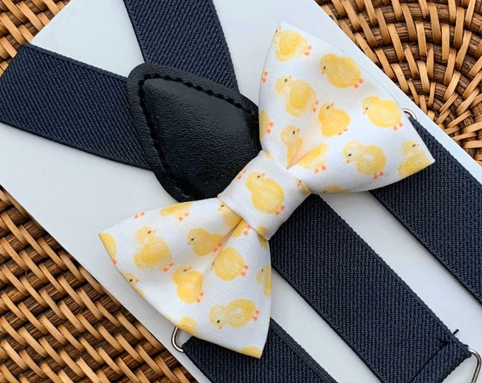 Easter Bow Tie, Bow Tie with Chicks, Easter Outfit for Boys, Bow Tie for Men, Boys, Girls, Baby, Toddlers, Easter Bow Ties, Suspenders