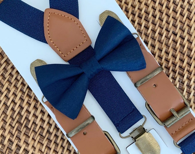 Navy Blue Bow Tie & Navy Leather Suspenders, Ring Bearer Outfit, Navy Wedding, Page Boy Outfit, Boys Birthday Outfit, Boy Gift, Groomsmen