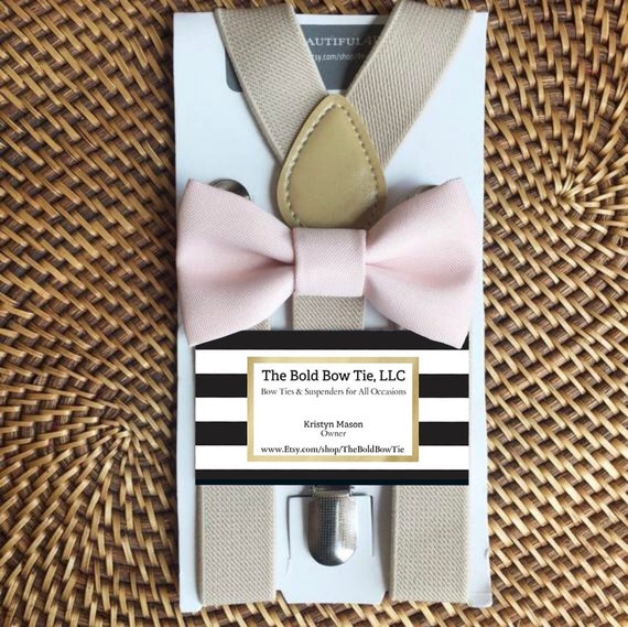 Bow Tie & Suspenders, Blush Bow Tie, Blush Baby Bow Tie, Blush Toddler Bow Tie, Ring Bearer Outfit, Wedding Suspenders, Pink Bow Tie