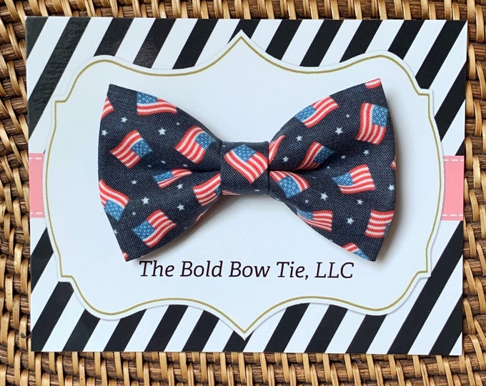 Red White & Blue 4th of July Dog Bow Tie, USA, Patriotic Bow Tie for Dogs, Cats, Independence Day Dog Bowtie, Dog Accessories, Dog Gift