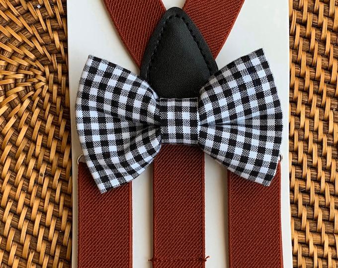 Christmas Bow Tie & Burgundy Suspenders, Ring Bearer Outfit, Boys Suspenders, Mens Bow Tie, Christmas Outfit, Boys Bow Tie, Baby Bow Tie