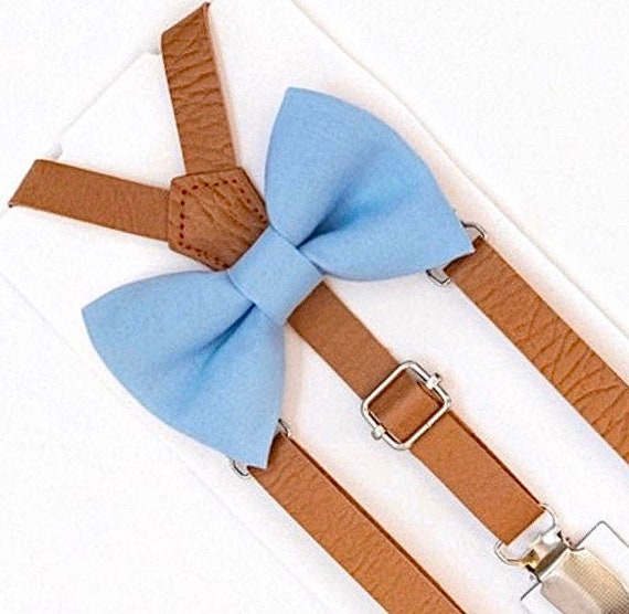 Dusty Blue Bow Tie, Cornflower Bow Tie, Leather Suspenders, Ring Bearer Outfit, Wedding Suspenders, All Sizes, Mens Bow Tie, Boys Bow Tie