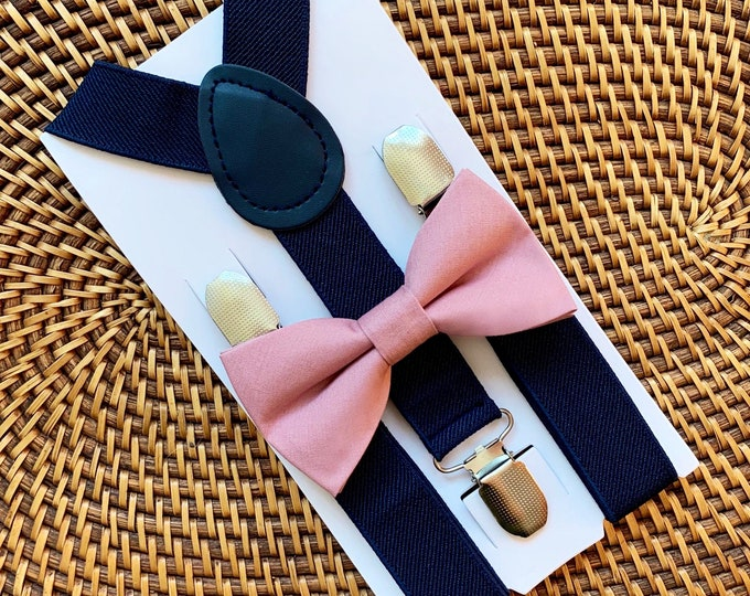 Dusty Rose Bow Tie & Navy Suspenders, Mauve Bow Tie, Navy Blue Suspenders, Baby Suspenders, Ring Bearer Outfit, Boys Suspenders, Wedding