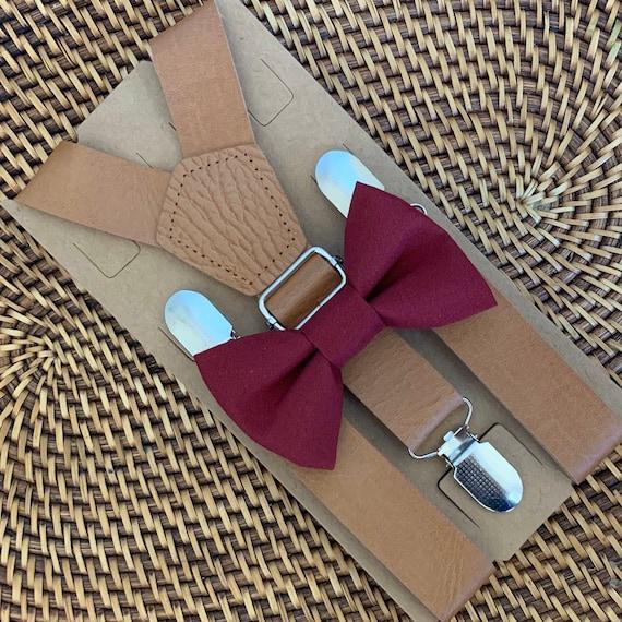 Rustic Burgundy Bow Tie Vintage Leather Suspenders Wedding Suspenders Boys Bow Tie Brown Suspenders Leather Suspenders Mens Bow Ties