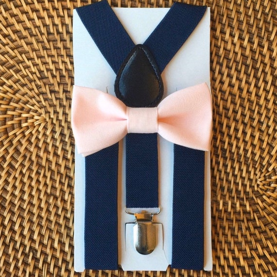 Blush Bow Tie, Navy Blue Suspenders, Pink Bow Tie, Blush Pink Bow Tie, Blush Bow Tie Navy Suspenders Set, Wedding Suspenders