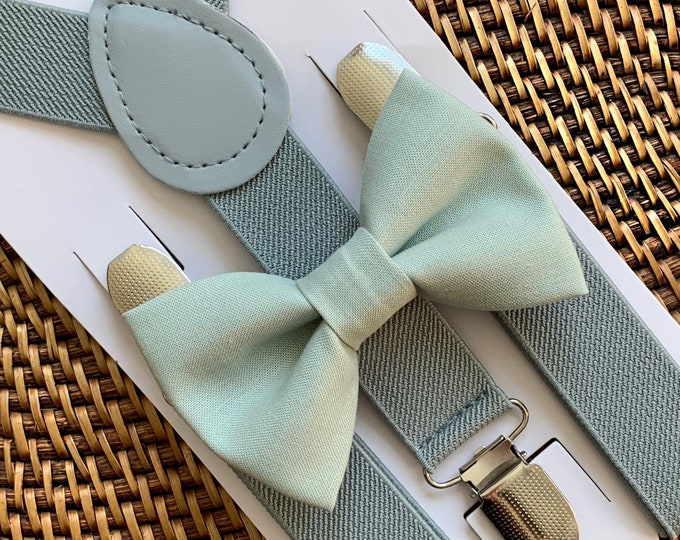 Dusty Sage Bow Tie & Grey Suspenders - Ring Bearer, Wedding Outfits, Page Boy, Groomsmen, Cake Smash, David's Bridal, Azazie Agave