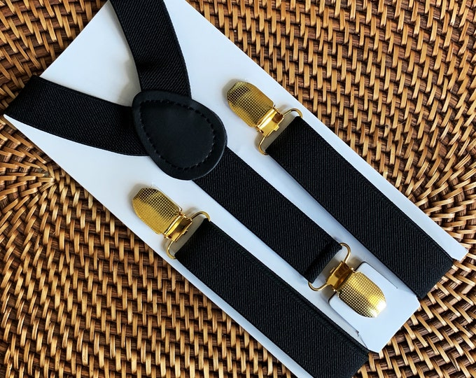 Black Suspenders with Gold Clips - PERFECT for a Ring Bearer Outfit, Page Boy, Cake Smash, Groomsmen, Wedding, Baby, Toddler, Men, ALL SIZES