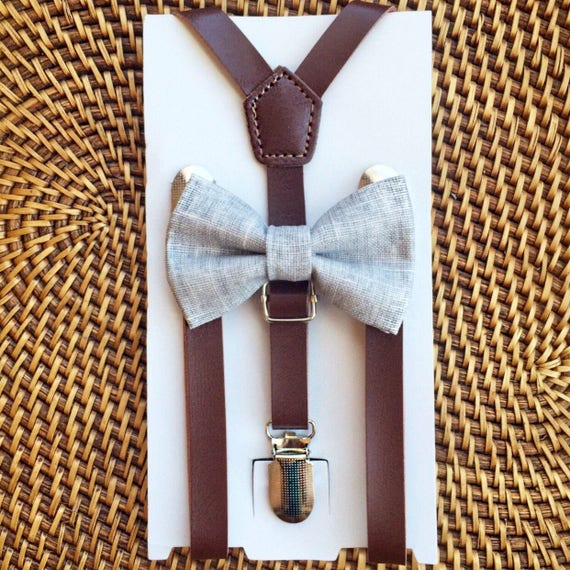 Gray Bow Tie & Leather Suspenders, Grey Bow Tie, Wedding Suspenders, Ring Bearer Outfit, Suspender Set, Wedding Suspenders, Mens Bow Ties
