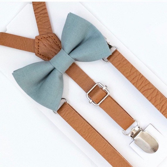 Slate Bow Tie, Leather Suspenders, Baby Bow Tie, Grey Bow Tie, Ring Bearer Outfit, Toddler Bow Tie, Mens Bow Tie, Boys Bow Tie, Suspenders