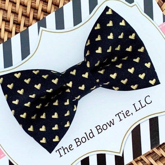 Black and Gold Heart Bow Tie- Perfect for Kids Valentines Day, Valentines Gift for Boys, Heart Bow Tie, All Sizes!