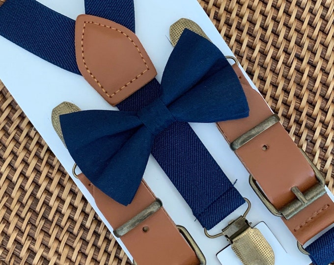 Navy Blue Bow Tie & Suspenders, Navy Bow Tie, Navy Baby Bow Tie, Navy Ring Bearer Outfit, Mens Bow Ties, Boys Suspenders, Wedding