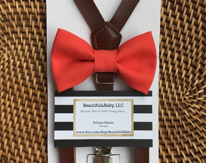 Coral Bow Tie, Leather Suspenders, Wedding Suspenders, Ring Bearer Outfit, Toddler Bow Ties, Beach Wedding, Men's Suspenders, Boys Bow Ties
