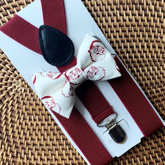 Vintage Christmas Bow Tie & Burgundy Suspenders Christmas Outfit Boys Bow Tie Bow Tie Suspenders Toddler Suspenders Baby Bow