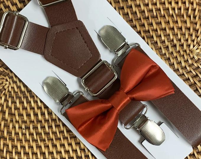 Burnt Orange Bow Tie, Baby Bow Tie, Orange Bow Tie, Toddler Bow Tie, Dark Orange Bow Tie, Suspenders and Bowtie Set