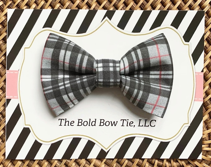 Grey Plaid Dog Bow Tie, Bow Tie for Dogs, Cats, Pets, Bowtie, Bow Ties, Christmas Dog Bow Tie, Christmas Bow Tie, Cat Bow Tie, Accessories