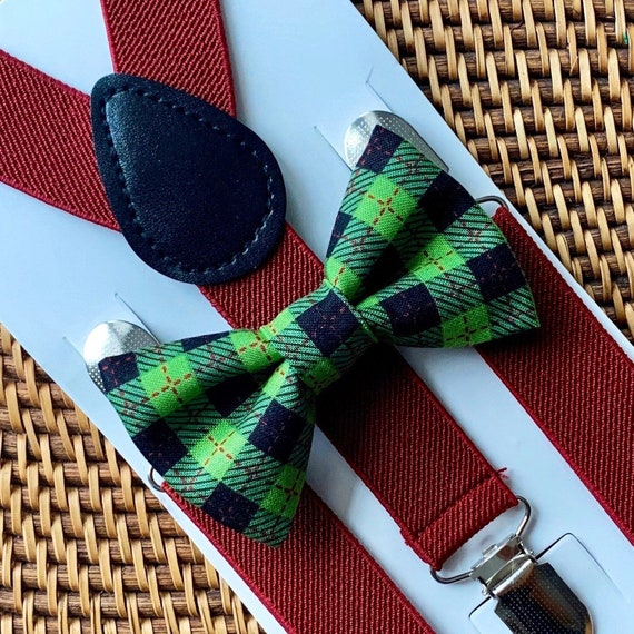 Green Christmas Bow Tie, Green Plaid Bow Tie, Burgundy Suspenders, Christmas Outfit, Boys Bow Tie, Suspenders, Christmas Bow Tie for Men