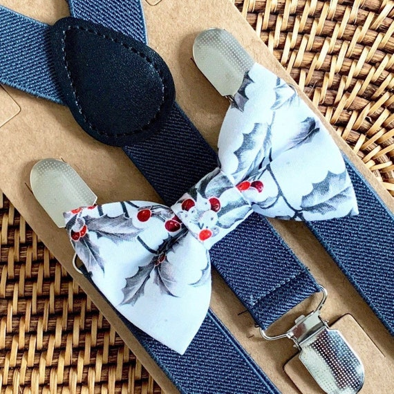 Mistletoe Bow Tie & Gray Suspenders / Christmas Bow Tie / Bow Tie for Boys / Bow Tie for Men / Baby / Toddler / Suspenders / Bow Ties