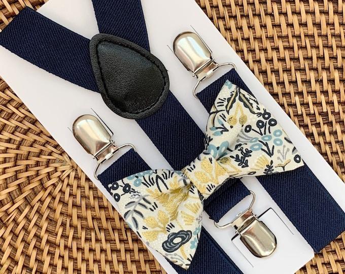 Gold Floral Bow Tie & Navy Suspenders, Boho Wedding, Ring Bearer Outfit, Ring Bearer Outfit, Kids Suspenders, Groomsmen, Bohemian Wedding