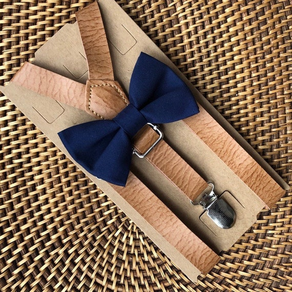 Navy Bow Tie & Leather Suspenders, Leather Suspenders, Wedding Suspenders, Ring Bearer Outfit, Navy Ring Bearer Outfit, Boys Bow Tie