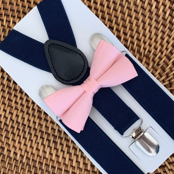 Pink Bow Tie & Navy Blue Suspenders, Pink Bow Tie for Men, Boys Pink Bow Tie, Baby Bow Tie, Toddler Bow Tie, Bow Ties, Suspenders
