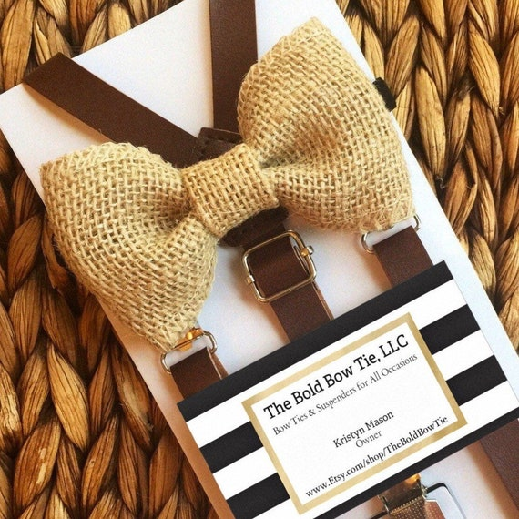 Brown Leather Suspenders & Burlap Bow Tie for Groomsmen Gift Leather Suspenders and Bowtie Set Outfits Suspenders for Men Boys Suspenders