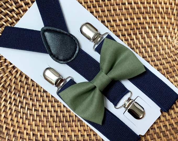 Olive Green Bow Tie & Navy Blue Suspenders, Ring Bearer Outfit, Boho Wedding, Page Boy Outfit, Rustic Wedding, Groomsmen