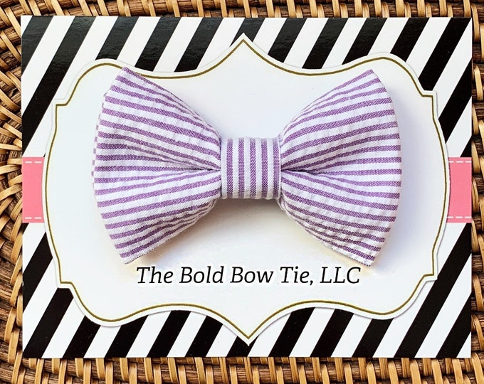 Easter Dog Bow Tie, Purple Seersucker Bow Tie for Dogs, Cats, Pets, Bowtie, Nerd Bow Ties, Dog Lover Gift, Dog Accessories, Dog Gift