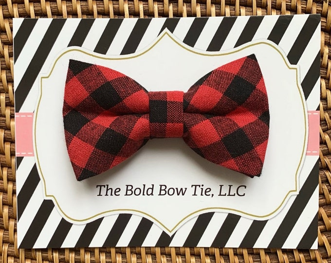 Red Buffalo Plaid Dog Bow Tie, Bow Tie for Dogs, Cats, Pets, Bowtie, Bow Ties, Valentines Day Dog Bow Tie, Red Bow Tie, Buffalo Check