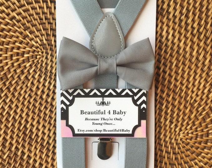 Gray Bow Tie, Gray Baby Bow Tie, Gray Toddler Bow Tie, Gray Ring Bearer Set, Gray Bow Tie & Suspender Set, Mens Bow Ties, Wedding Suspenders