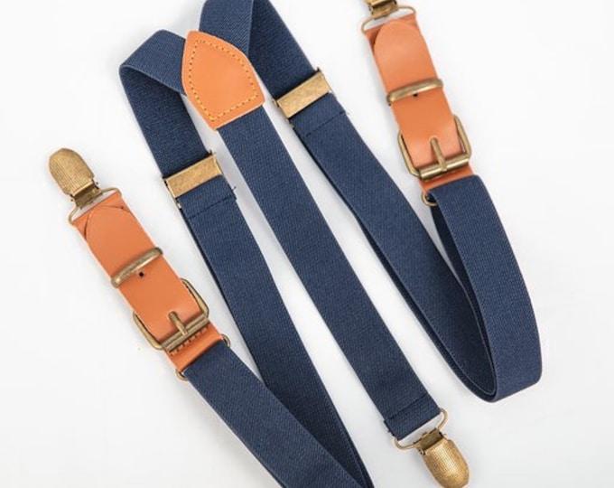 Leather Suspenders, Navy Suspenders, Buckle Suspenders, Ring Bearer Outfit, Wedding Suspenders, Groomsmen Suspenders, Mens Suspenders