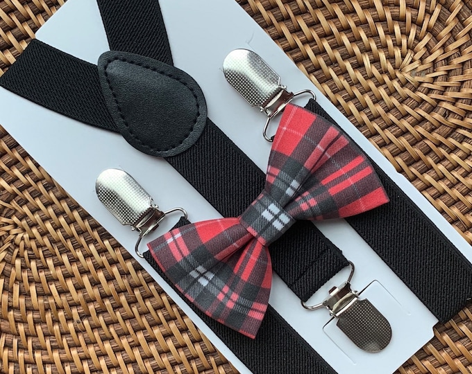 Vintage Red Plaid Christmas Bow Tie and Black Suspenders --PERFECT for Holiday, Christmas Outfit, Baby's 1st Christmas, Toddler, Boys, & Men
