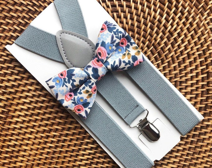 Bow Tie & Suspenders, Wedding Bow Ties, Floral Bow Tie, Grey Suspenders, Wedding Suspenders, Ring Bearer Outfit, Bow ties- All Sizes