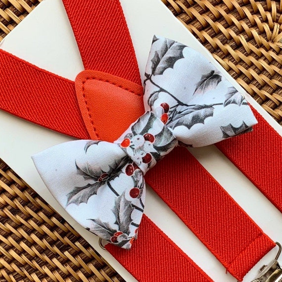 Christmas Bow Tie, Bow Tie, Red Suspenders, Christmas Outfit, Boys Bow Tie, Suspenders, Toddler Suspenders, Kids Suspenders, Boys Suspenders