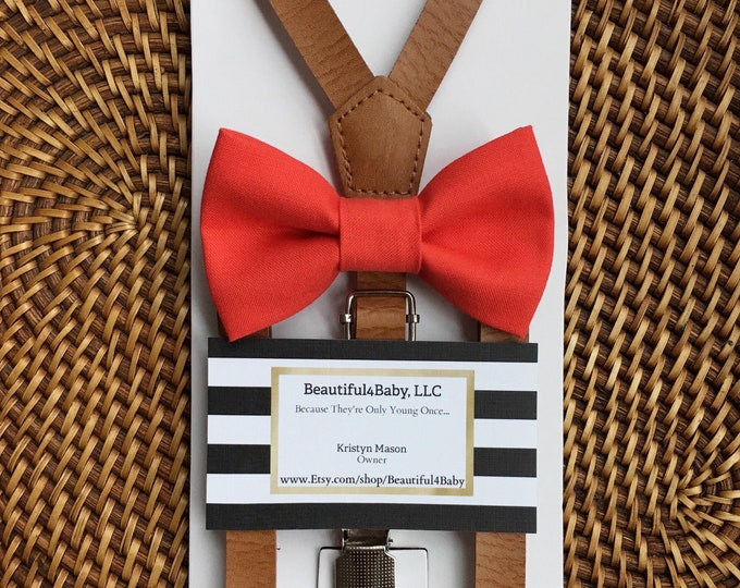 Coral Bow Tie, Leather Suspenders, Bow Ties, Beach Wedding, Wedding Suspenders, Groomsmen Suspenders, Toddler Bow Tie, Ring Bearer Outfit