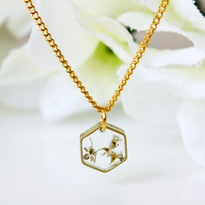 master gift 2.5 x2cm resin and dried flower white hydrangea pendant Choker necklace