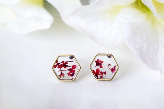 0afeceb38 Resin / earring / red / Pressed Flower Earring Dried Flower | Etsy