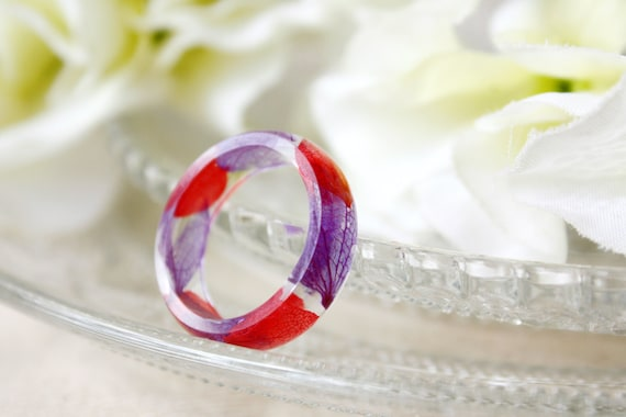 Array - resin   ring   purple red   resin flower ring gift for her cool ring botanical jewelry pressed flowers plant ring terrarium cute ring  rh   etsy com