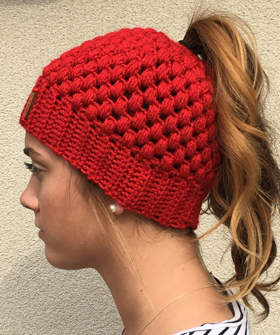 60e73ed1002 MESSY BUN BEANIE Crocheted Bun Hat Messy Bun Hat Ponytail